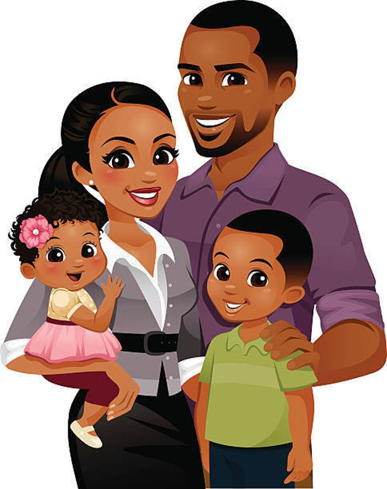 15 African American Family stickers for planners & scrapbooks image 0