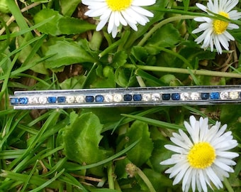 Vintage blue and clear brooch
