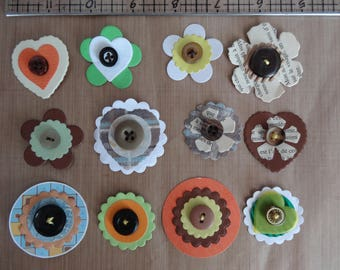 handmade 12 papers and embellisments buttons / brown color / set of 12