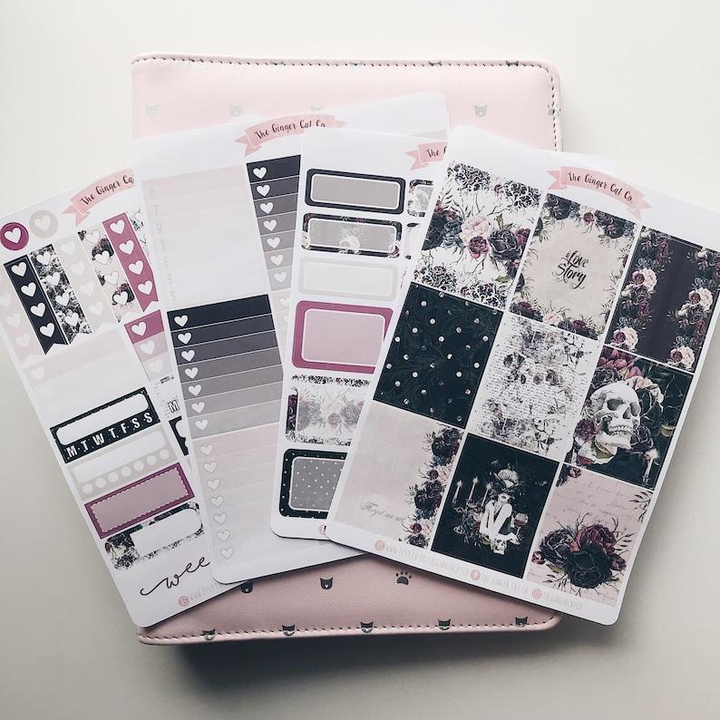 A la carte Gothic Love Story Vertical Planner Sticker Kit image 0