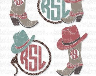 Cowgirl Monogram SVG dxf jpg png Cut File  02f8271acc5e