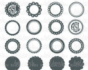 SALE! Circle Scalloped Monogram svg, dxf, png, jpg, Circle Scalloped Cut File, Circle Scalloped Frames, Circle Scalloped Digital Download