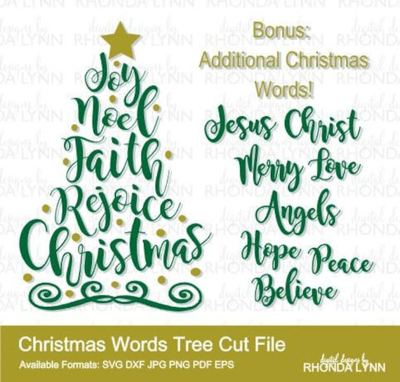 sale christmas tree svg christmas words svg dxf png pdf eps etsy