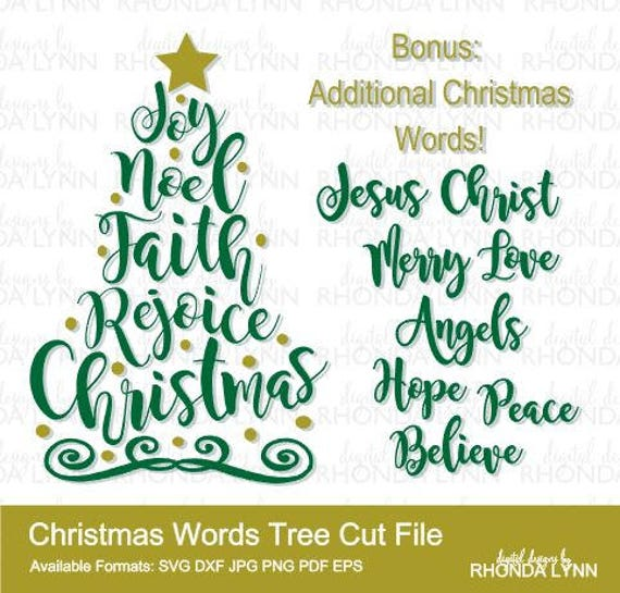 Christmas Words.Sale Christmas Tree Svg Christmas Words Svg Dxf Png Pdf Eps Jpg Cut Files Christmas Word Tree Svg Christmas Svg Christmas Tree