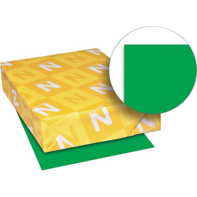 Green Bright Color Copy Paper Letter 500 Sheets Lignin Chlorine Acid Free 24 lb Heavy Weight For Laser Inkjet Printers Presentations