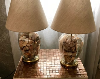 PAIR of vintage NAUTICAL glass jar lamps filled with shells 70's