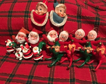 Vintage Christmas Pixie Elf & Santa figurines LOT of 16