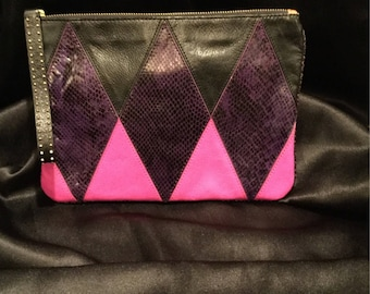 One of a kind Vintage Juicy Cotoure mohair patchwork wristlet