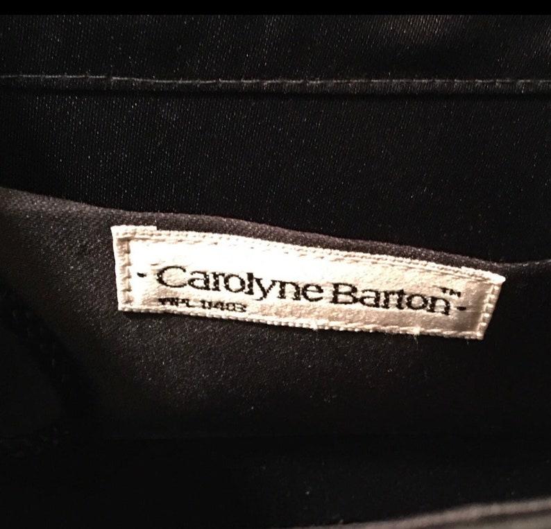 DATE NIGHT ! vintage black satin flap closure square evening bag by Carolyn Barton