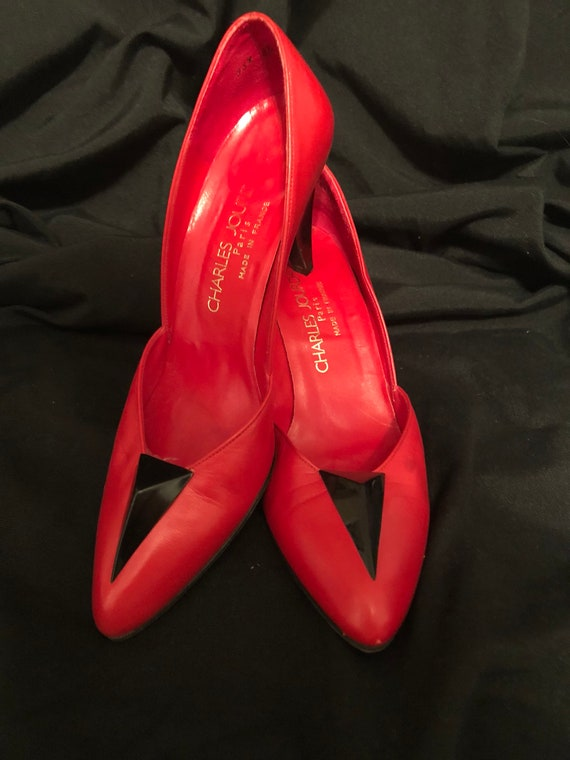 Charles Jourdan red leather pumps 1980's