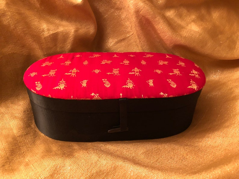 Satin oriental jewelry box by Lador Inc made in Hong Kong  giftcollectible