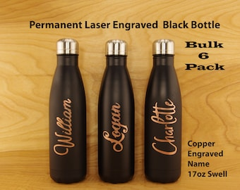 0f56ae1f31 6 Custom Name Bottles – Custom Swell Water Bottle - Personalized Black Swell  Bottle – Team Gifts - Laser Engrave Stainless Steel Swell -WB20
