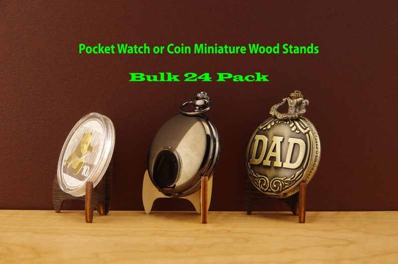 24 Pocket Watch Stand – Easel Stand - Coin Display Pocket Watch Holder –  Wood Easel Pocket Watch Display – Bulk Coin Small Wood Stands –SG14