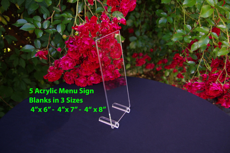 5 Acrylic Table Menu Blank Signs Acrylic Menu Sign Blanks | Etsy