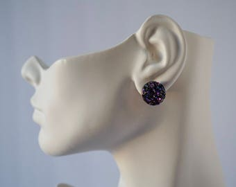 Large faux crystal black iridescent stud earrings