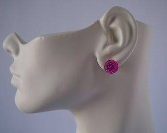Faux pink Crystal stud earrings