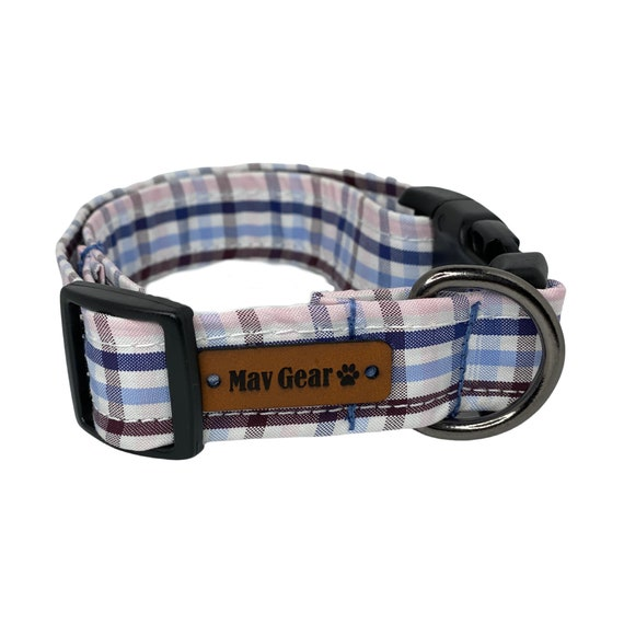 Plaid Spring Colors Dog Collar, Pink and Blue Dog Collar, Plaid Collar, Cute Puppy Collar, Cute Dog Collar,  Mav Gear pink, white and blue