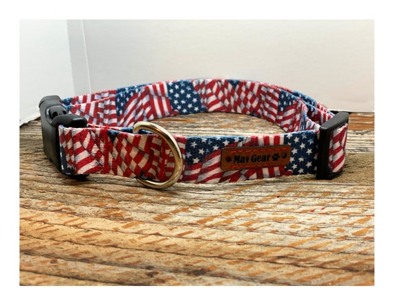 Red White and Blue Dog Collar, USA Dog Collar, Flag Dog Collar, Puppy Collar, Cute Puppy Collar, 4th of July Dog Collar, Mav Gear
