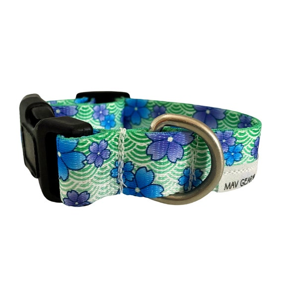 Dog Collar, green puppy collar, flowers collar, designer dog collar, cute puppy collar -Mav Gear will have your darling looking as adorable.