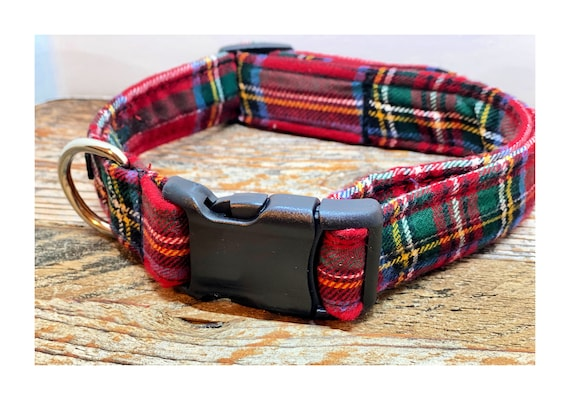 Dog Collar Red, Holiday Dog Collar, Designer Dog Collar, Puppy Collar, Cute Puppy Collar, Cute Dog Collar,  Mav Gear Red/Green Plaid Flannel
