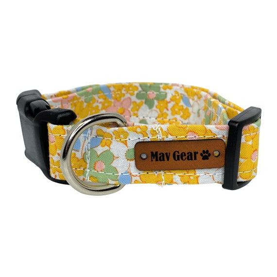 Spring Yellow Flowers Dog Collar, Yellow Dog Collar, Floral Collar, Cute Puppy Collar, Cute Dog Collar,  Mav Gear Yellow