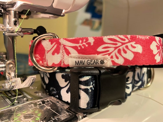 Dog Collar Hawaiian Pink or Black: Durable, colorful patterns with strong hardware for reliable everyday use.
