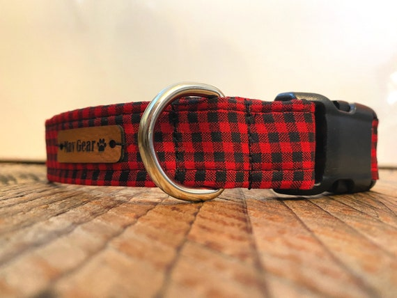 Dog Collar Red, Holiday Dog Collar, Designer Dog Collar, Puppy Collar, Cute Puppy Collar, Cute Dog Collar, Mav Gear Lumberjack Plaid