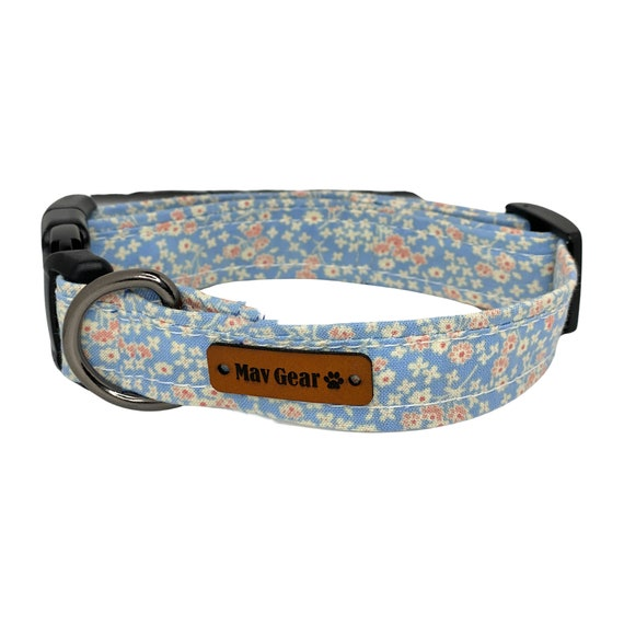 Spring Blue Flowers Dog Collar, Blue Dog Collar, Floral Collar, Cute Puppy Collar, Cute Dog Collar, Mav Gear Yellow