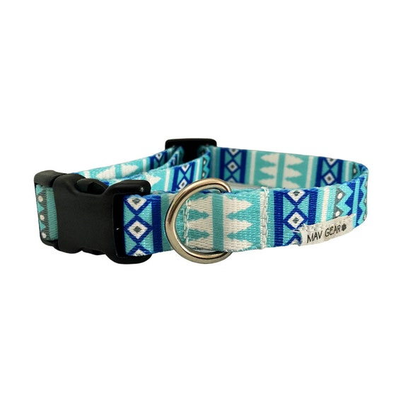 Dog Collar, Colorful dog collar, cute puppy collar, Unique dog collar blue, Mav Gear durable with strong hardware for reliable everyday use.