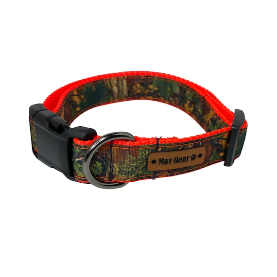 Southern Forest Camo On Neon Orange, Dog Collar, Waterproof dog collar, Mildew proof collar, Unique Dog Collars, Cool Collar, Outdoor Collar
