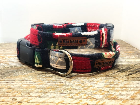 Dog Collar Red, Holiday Dog Collar, Designer Dog Collar, Puppy Collar, Cute Puppy Collar, cabin Dog Collar, by  Mav Gear Red