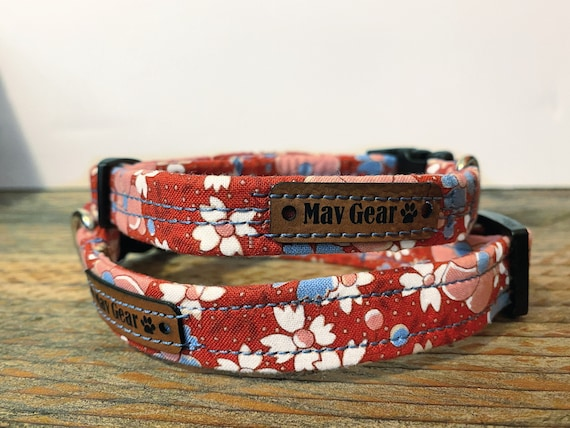 Dog Collar Red, designer dog collar, cute flower puppy collar, by Mav Gear floral will have your darling looking adorable.