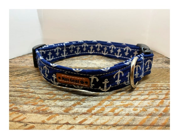 Dog Collar, Nautical Dog Collar, Designer Dog Collar, Puppy Collar, Cute Puppy Collar, Cute Dog Collar, Mav Gear Blue Anchor