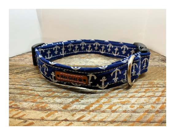 Dog Collar Blue, Nautical Dog Collar, Designer Dog Collar, Boating Collar, Puppy Collar, Cute Puppy Collar, Mav Gear Blue Anchor
