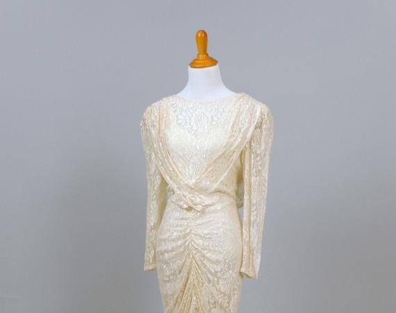 1980 Gathered Lace Vintage Wedding Dress