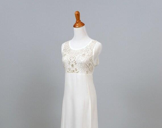 1970 Cotton Cutwork Vintage Wedding Gown