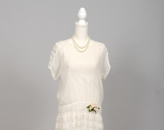 1920 Gauzy White Vintage Wedding Dress