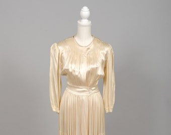 1940 Champagne Satin Vintage Wedding Coat