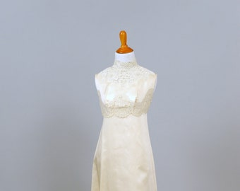 1960 Pearl & Lace Embroidered Vintage Wedding Gown