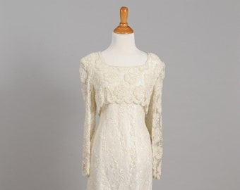 1980's Pearl and Beaded Sheath Vintage Wedding Dress