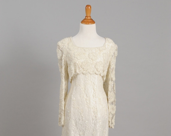 1980's Pearl and Beaded Sheath Vintage Wedding Dress
