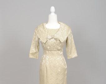 1960 Champagne Brocade Vintage Wedding Ensemble