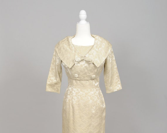 1960 Champagne Brocade Vintage Wedding Ensemble