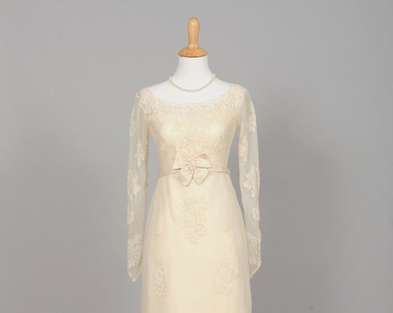 1960 French Vanilla Embroidered Vintage Wedding Gown