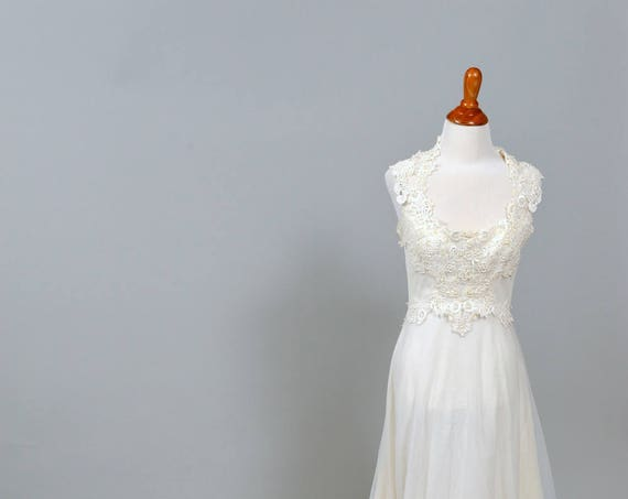 1970 Illusion Vintage Wedding Gown