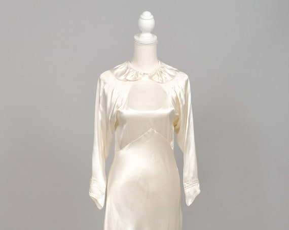 1940 Vanilla Silk Satin Vintage Wedding Gown
