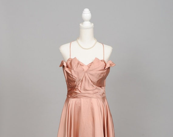 1950 Copper Silk Satin Vintage Wedding Gown