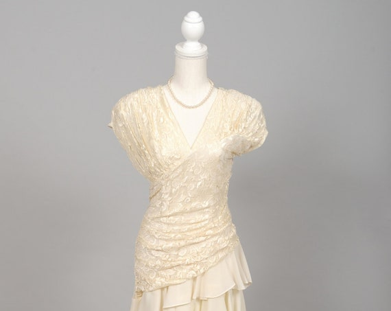 1970 Asymmetrical Vintage Wedding Dress