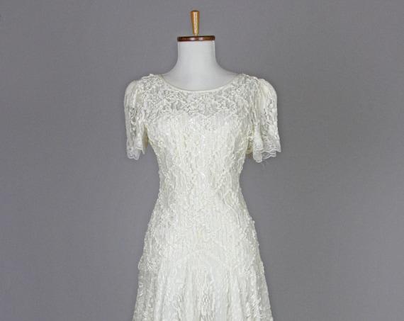 1970 Soutache And Lace Vintage Wedding Dress