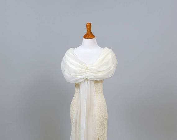 1970's Chiffon and Lace Sheath Wedding Dress